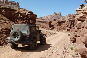 Jeep Wrangler on the trail at Moab, Utah.