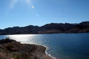 Lake Mohave is a reservoir formed by Davis Dam on the Colorado River, which defines the border between Nevada and Arizona.