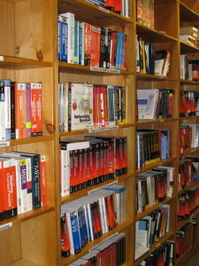 "There are miles of bookshelves like this in Powell's ""City of Books."""