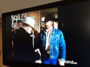 "What would you expect to be on TV here? ""Walker - Texas Ranger"" of course."