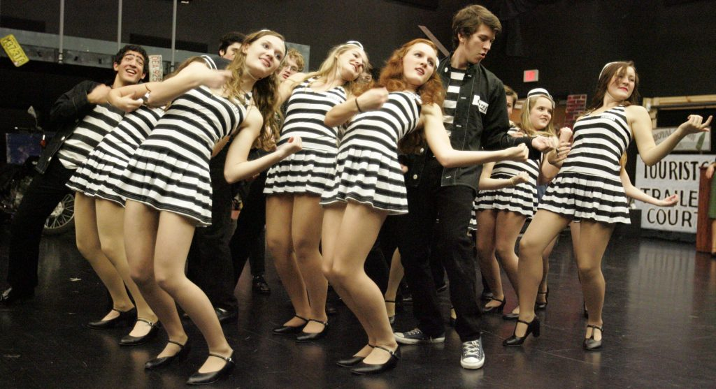 "Brookfield Central students rehearse ""Jail House Rock"" for the musical production ""All Shook Up."""